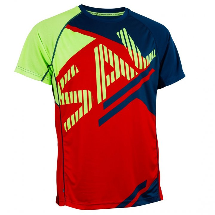 Salming Bold Print Tee Red/Blue L